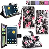 Alcatel Onetouch Pop Astro Case - Cellularvilla Pu Leather Wallet Flip Card Slots Open Pocket Case Cover Pouch For Alcatel onetouch Pop Astro 5042T (Black Pink Flower)