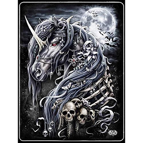 Kit De Pintura Con Diamantes 5D Caballo Esqueleto,Animal Cuadros Punto De Cruz Kit Manualidades Para Decoración De La Pared Del Hogar 30 * 40cm