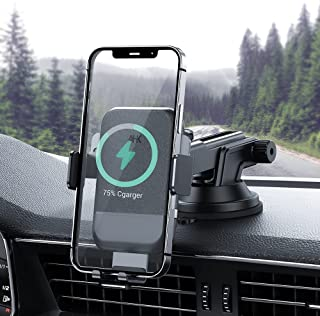 AHK Wireless Car Charger,10W Qi Fast Charging Auto-Clamping Car Mount,Windshield Dash Air Vent Phone Holder Compatible iPh...