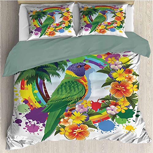 Parrots Duvet Cover Bedding Set, Parrot Lorikeet in Rainbow Circle with Palm Trees Tropical Plants Flowers Colorful Art, Decorative 3 Piece Bedding Set with 2 Pillow Shams, Full Size, Multi