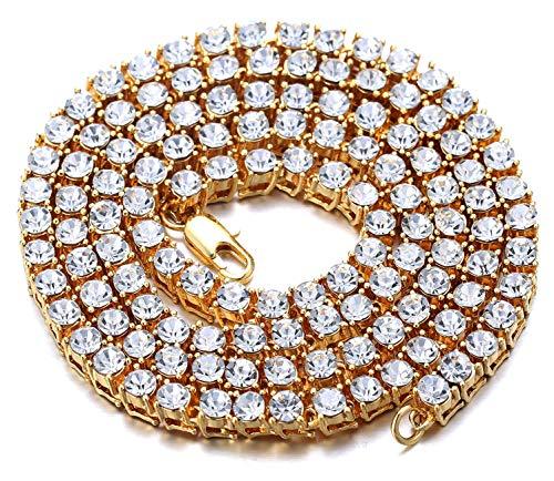 Halukakah Herren Goldkette Iced Out,5.5MM Herren Tenniskette 18 Karat Echt Vergoldet Halsband Halskette 60cm,Labordiamant Zinken-Set,Geschenk für ihn