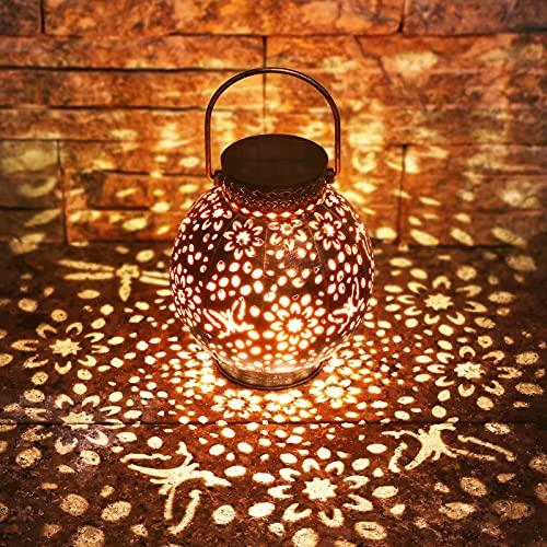 KOOPER Solarlaterne für Außen (Bronze), Vintage Metall Garten Solarlampen für Außen mit Warmweiß Licht, IP65 Wasserdicht Hängend Garten Deko Solarleuchten für Außen Weihnachten Rasen Hof Auffahrt
