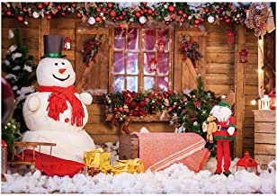 Funnytree 7X5ft Winter Christmas Snowman Photography Backdrop Xmas Snow Wood Cabin Cottage Decorations Background Baby Portrait Photobooth Banner Photo Studio Props