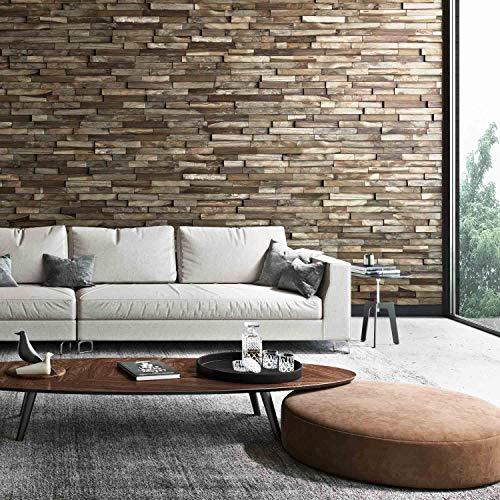 Holz Wandverkleidung mit 3d Paneelen aus verwittertem, recyceltem Holz von Nordje® (Elvar | Teak) - 5