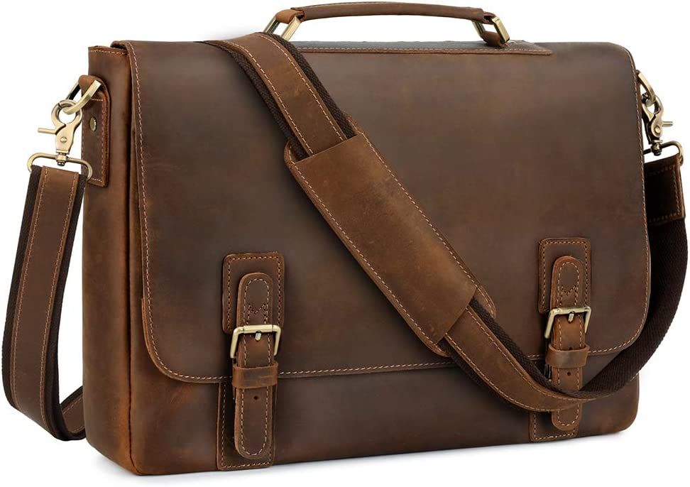 Kattee Men's Leather Satchel Briefcase S Free shipping on posting reviews National products Laptop 15.6