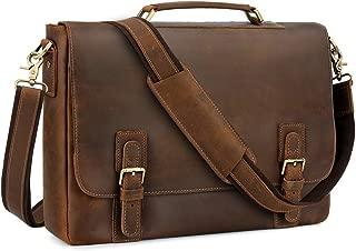 """Men's Leather Satchel Briefcase, 15.6"""" Laptop Messenger Shoulder Bag Tote"""