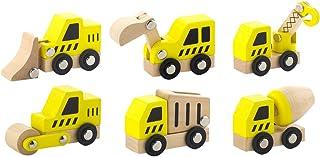 Viga Zestaw 6 drewnianych pojazdów budowlanych - dzieci przesuwają się wzdłuż wózków zabawnych