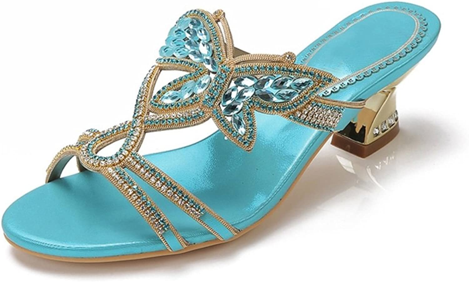 SPLNWTFHCNWPCB Rhinestone Sandals Chunky Heels Women shoes with Sandals Bow Slippers