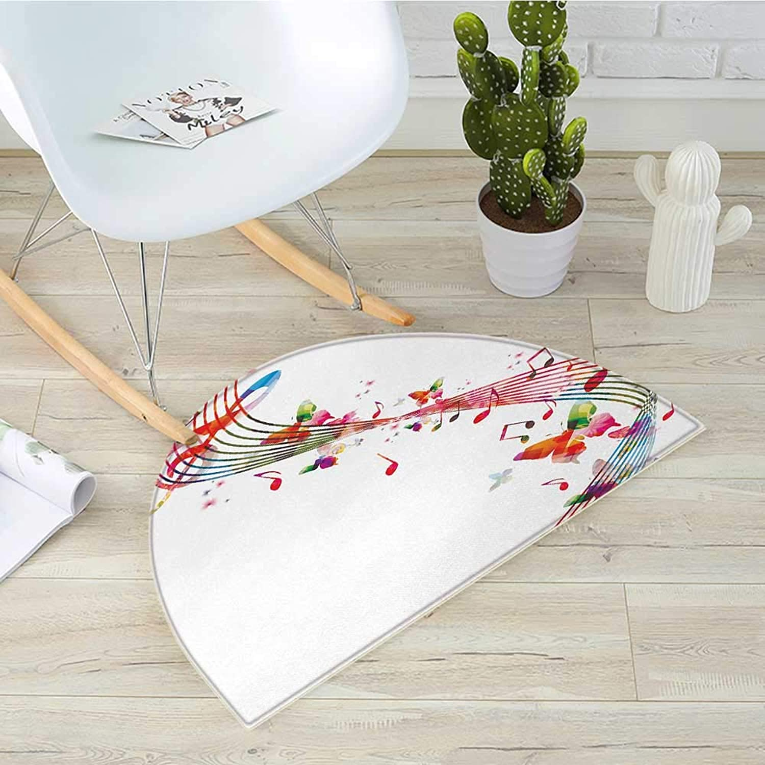 Music Semicircular Cushioncolorful Artwork with Music Notes Butterflies Springtime Party Entry Door Mat H 39.3  xD 59  Multicolor