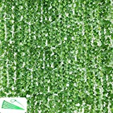 Zuvas 24 Pcs 148 Ft Vines - Fake Vines Leaves, Artificial Ivy Garland, Hanging Vines - Vine Plants withCable Tie - Fake Ivy for Wedding Party Garden Greenery Decor Outdoor Indoor Wall Decoration