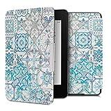 kwmobile Carcasa Compatible con Amazon Kindle Paperwhite - Funda para Libro electrónico con Solapa - Azulejos Cuadrados