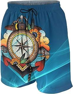 FullBo Red and Black Deer Head Pattern Little Boys Short Swim Trunks Quick Dry Beach Shorts