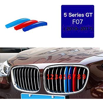 For B M W 6 Series F12 F13 F06 640i 650i 2009-2015(10 Grille 3D Front Grille Strips Motor sports M Color Insert Trim Grill Cover Stickers Decoration