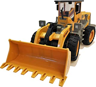 Remote Control Construction Toy Truck, RC Bulldozer, Front Loader Tractor, Alloy Shovel 2.4G 6 Channel, with Light and Sounds, for 2,3,4,5,6,7,8,9 Year Old Boys and Up