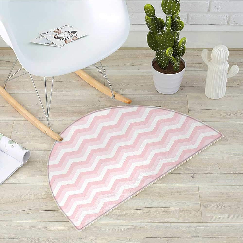 Chevron Half Round Door mats Zigzag Chevron Grunge Pattern in Soft colors Simplicity Artful Design Bathroom Mat H 43.3  xD 64.9  pink Pale Pink White