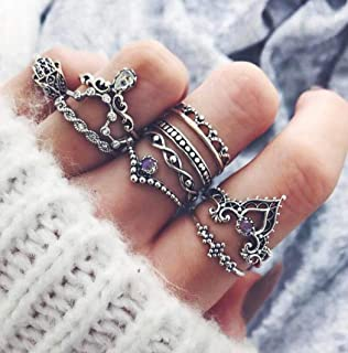Fstrend Vintage Knuckle Ring Boho Ring Set Sun Moon Elephant Fatima Carving Flower Turquoise Arrow Rhinestone Crown Joint Knuckle Nail Midi Ring Set (Purple)