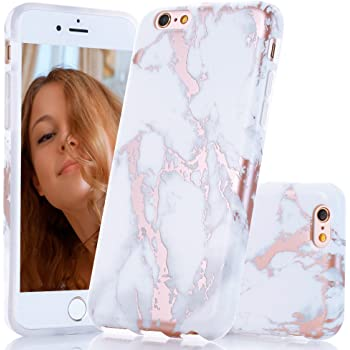 BAISRKE iPhone 5 Case, iPhone 5 5S SE Shiny Rose Gold Marble Design Clear Bumper Matte TPU Soft Rubber Silicone Cover Phone Case for iPhone 5 5S SE - White