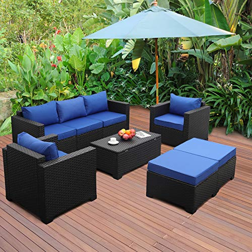 6 Pieces Patio Wicker Furniture Set Outdoor PE Rattan Conversation Couch Sectional Chair Sofa Set with Royal Blue Cushion
