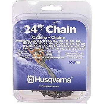 Husqvarna Chainsaw Chain 24-Inch .050 Gauge 3/8 Pitch Low Kickback Low-Vibration, Gray, 24 inches (591119484)