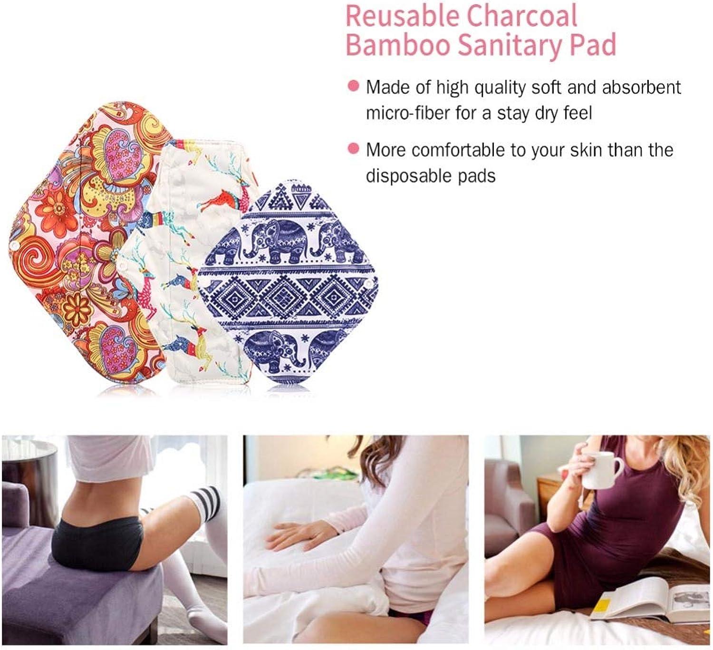 3pcs Reusable Charcoal Bamboo Cloth Menstrual Pads Washable Sanitary Towel Panty Washable Sanitary Towel Menstrual Pads S M L