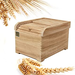 WOLFBUSH Wooden Rice Storage Container 15KG/33lb Sealed Kitchen Food Container for Rice,Cereal Grain, Flour,Soybeans and More, 42×33×26cm