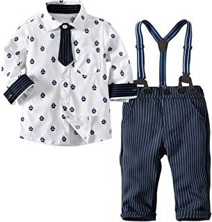 DIGOOD Toddler Baby Boys Gentry Clothes,Bow Tie Stars Romper+Suspenders Pants Formal Outfits,for 0-3 Years Little Gentleman