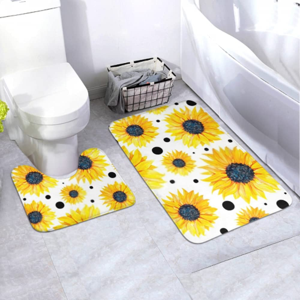 35% OFF Bath Mat Set Pattern Yellow Sunflowers On 2 Background Pie Max 84% OFF White