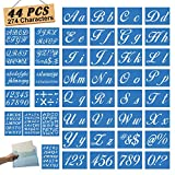 Letter Stencils for Painting on Wood - Alphabet Stencils with Calligraphy Font Upper and Lowercase Letters - Reusable Plastic Art Craft Stencils with Numbers and Signs - Set of 44 Pcs - 274 Designs