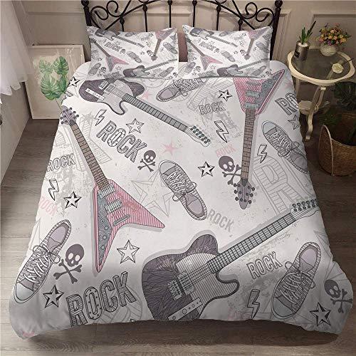 Schlafzimmerzubehör Bettwäsche Bettbezug Set 3D Gitarrenmuster Bettwäsche Bettbezug mit Kissenbezügen für Doppelkönig Einzelbett Mikrofaser 3-teilig Jungen Mädchen Schlafzimmer Bettwäscheset Dreite