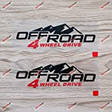 2X Black+red 6'' 4X4 Off Road 4WD Decal Sticker Car Vinyl Mountains