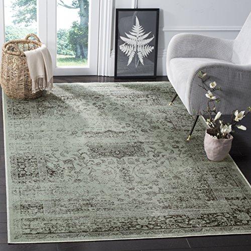 Safavieh Vintage Inspirierter Teppich, VTG113, Gewebter Weiche Viskose-Faser, Grau / Fichtengrün, 160 x 230 cm