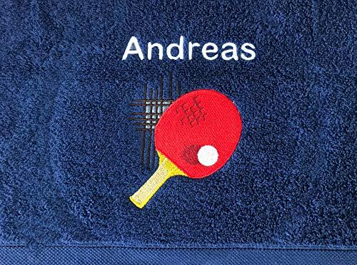 Tischtennis Handtuch bestickt mit Motiv und Name