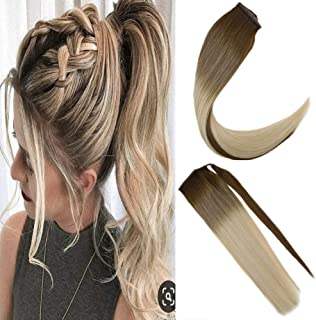 JoYoung 14inch Medium Brown to Blonde Ombre Ponytail Extension Clip on Balayage Human Hair Real Straight Ponytail Remy Hair Extensions for Women 80g
