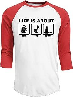 POPT! Men Life is About Beer BBQ Bullet Raglan Shirt Black