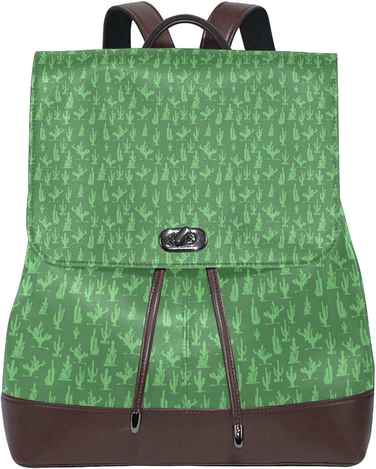 Leather Green Cactus Silhouette Backpack Daypack Bag Women