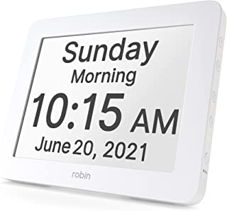 Robin, 2020 Version, Digital Day Clock 2.0 with Custom Alarms and Calendar Reminders, Alarm Clock with Extra Large Display...