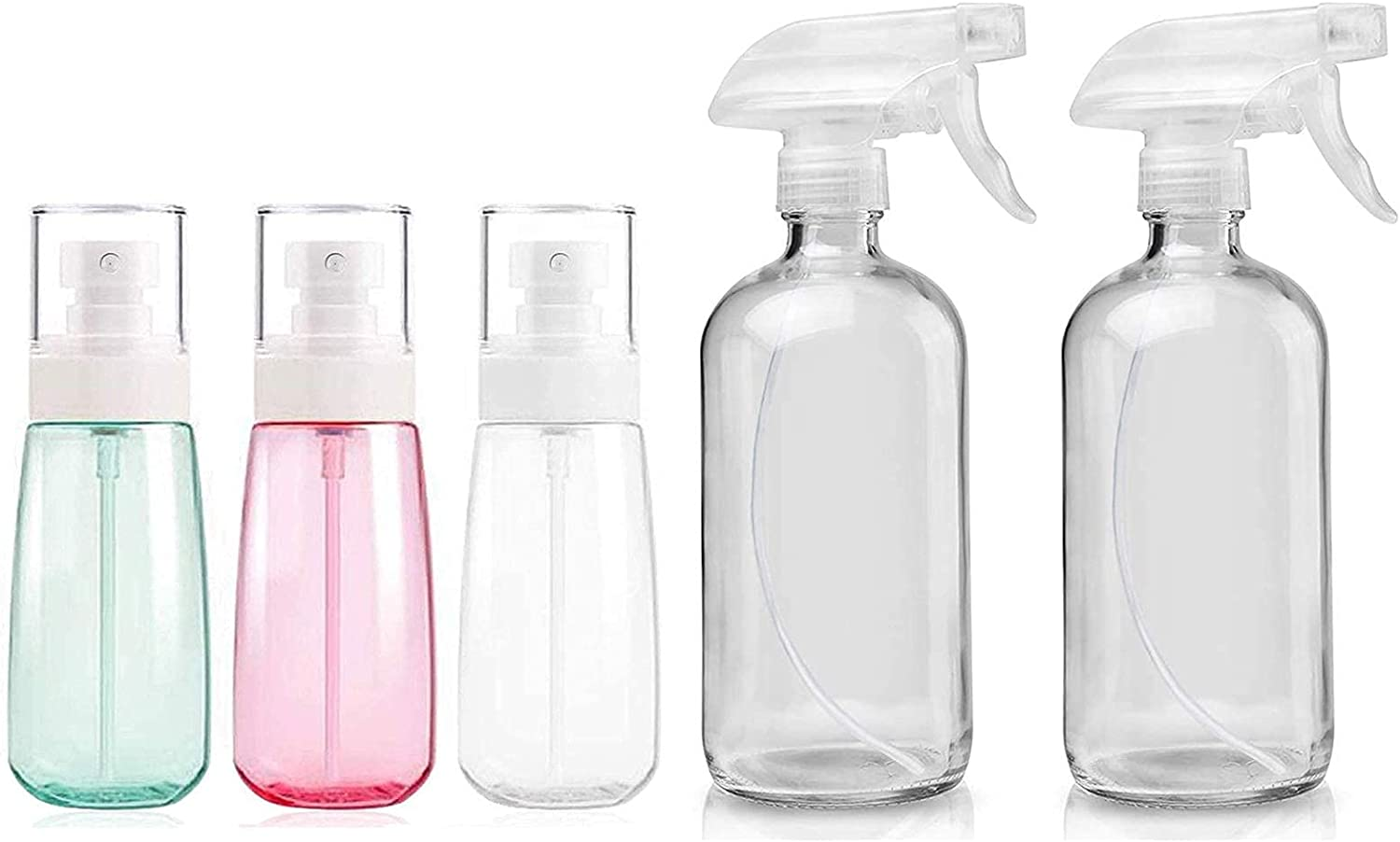 Glass Spray Bottles Empty 16oz 2021 spring sold out and summer new Refillable Round Boston Bottle Co