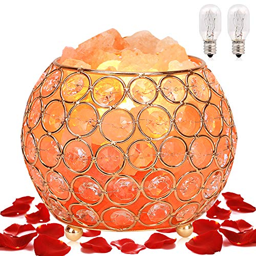 Himalayan Salt Lamp, Pink Rock Salt Lamp, Natural Crystal Salt Lamps, Night Light, Dimmable Touch Switch Home Bedroom Decoration Holiday Gift Lamp (ETL Certified, 2 Extra Bulbs)