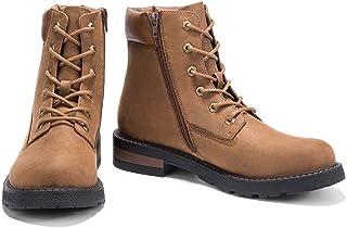 Leoed Men/'s Motorcycle Boots Lace Up Zip Cap Toe Oxford Dress Boot Waterproof Cap Toe Boot Size 6.5-10