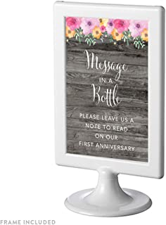 Andaz Press Framed Wedding Party Signs, Rustic Gray Wood Pink Floral Flowers, 4x6-inch, Message in a Bottle, Please Leave Us a Note to Read on Our First Anniversary, 1-Pack