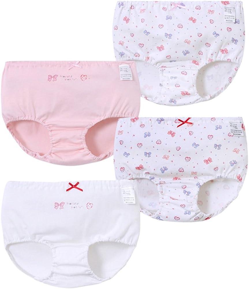 Tortor 1Bacha Kid Girls 4 Pack Cotton Brief Print Underwear Panties Children Bow-Knot Briefs