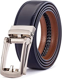 Men's Belt, Leather Ratchet Belt For Men Dress With Click Buckle, Trim To Exact Fit, Big & Tall