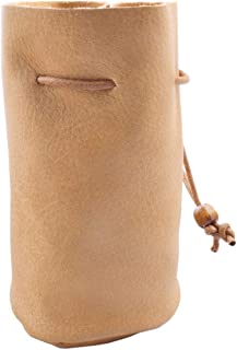 Handmade PU Drawstring Bags, Ultra-thin Soft Full Grain Drawstring Leather Pouch Purse, Brown