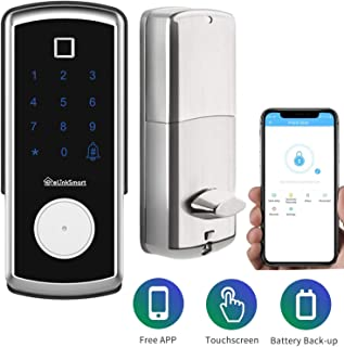 Digital Electronic Door Locks Home-Auto Touchscreen Smart Lock Handleless Fingerprint/IC Card/Touch Screen Keypad/App Code/Keys 5-in-1 Keyless Entry for Home/Airbnb Hotel Works with iOS/Android