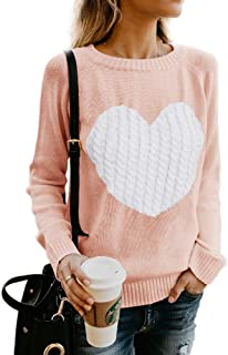 Womens Sweaters Casual Long Sleeve Cable Knit Cute Crew Neck Chunky Heart Pullover