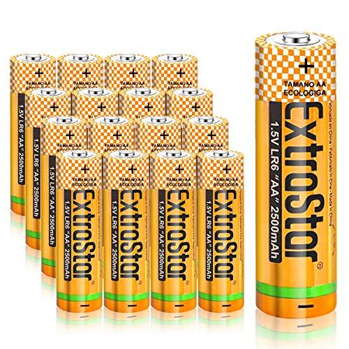 EXTRASTAR Batterie alcaline AA 1.5 Volt, Performance, confezione da 16