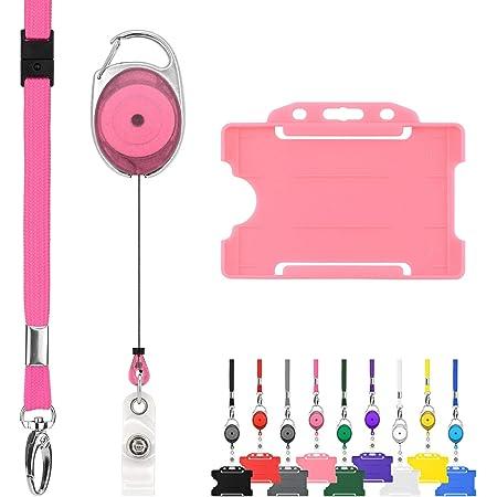 Juvale Lot de 10 porte-badges verticaux avec cordon Dor/é rose