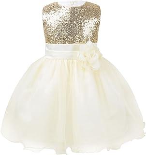 ranrann Infant Baby Girls Princess Flower Girl Dress Embroidered Sequined Bowknot Christening Baptism Wedding Birthday Dress