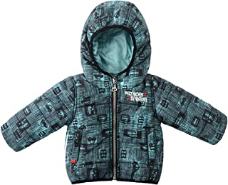 Baby Boys Winter Jacket Hooded Car Printed Quilted Puffer Infate Coat Outerwear