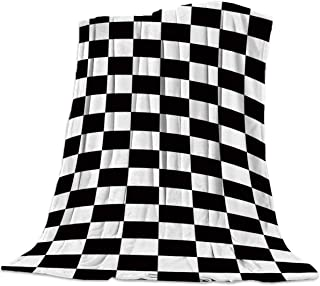 Flannel Fleece Bed Blankets Lightweight Cozy Throw Blanket for Couch Sofa Bedroom Adults Kids,Geometric Simple Black and White Checkered Flag 39x49 inch